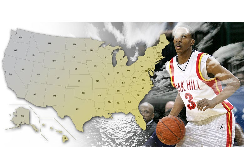 USA image map for high school Basketball playoffs.