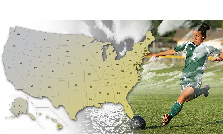 USA image map for high school Girls Soccer playoffs.