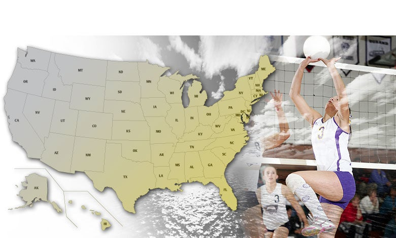 USA image map for high school Volleyball playoffs.